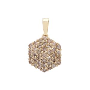 3/4ct Champagne Diamond 9K Gold Pendant