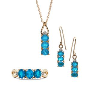Neon Apatite & Diamond 9K Gold Set of Ring, Earrings, Pendant & Chain ATGW 3.06cts
