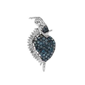 Blue Diamond Brooch with White Diamond in Sterling Silver 0.57ct