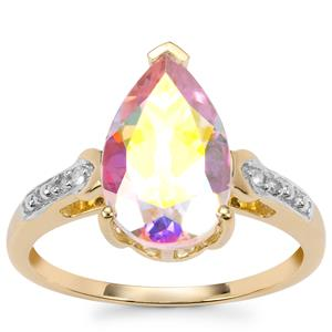 Mercury Mystic Topaz Ring with Diamond in 10K Gold 3.87cts