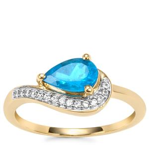 Neon Apatite Ring with White Zircon in 9K Gold 0.91cts