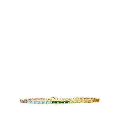 EXOTIC GEM GOLD PLATED STERLING SILVER BRACELET 7.97CTS