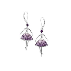 Ametista Amethyst Earrings in Sterling Silver 2.75cts