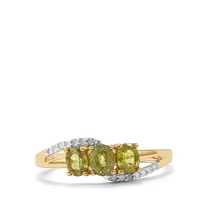 Ambanja Demantoid Garnet Ring with Diamond in 10K Gold 1.07cts