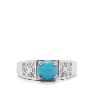 Sleeping Beauty Turquoise Ring with White Zircon in Sterling Silver 1.14cts
