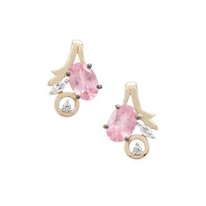 Pink Spinel Earrings with White Zircon in 9K Gold 1.42cts