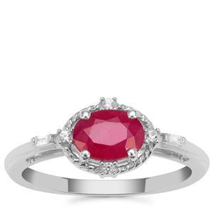 John Saul Ruby Ring with White Zircon in Sterling Silver 1.15cts
