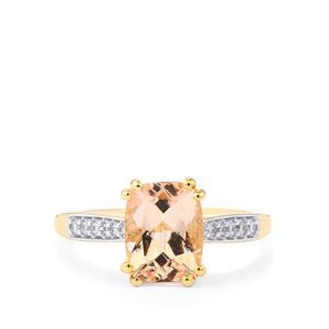 Mutala Morganite Ring with White Zircon in 10k Gold 2.09cts