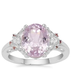 Brazilian Kunzite, Pink Tourmaline Ring with White Zircon in Sterling Silver 4.89cts