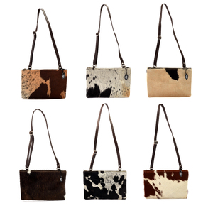 Genuine Cow Hide Leather Handbag - Patterns & Colours will vary