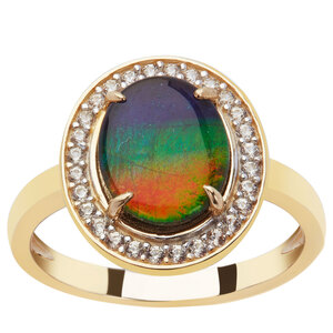 AA Ammolite & White Zircon 9K Gold Ring (9.50 x 8.00mm)