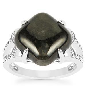 Natural Black Burmese Jade Ring in Sterling Silver 8.27cts