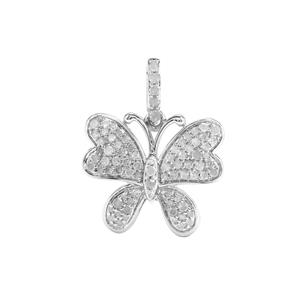 3/4ct Diamond Sterling Silver Butterfly Design Pendant