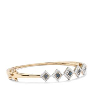 Blue Diamond Oval Bangle with White Diamond in 9K Gold 1ct
