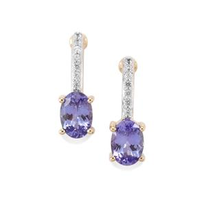 AA Tanzanite Earrings with Thai Sapphire in 10K Gold 1.31cts
