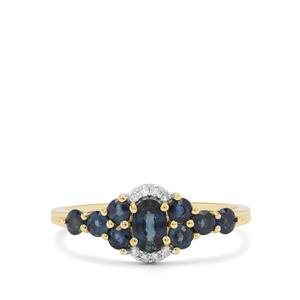 Nigerian Blue Sapphire Ring with Diamond in 9K Gold 1.10cts