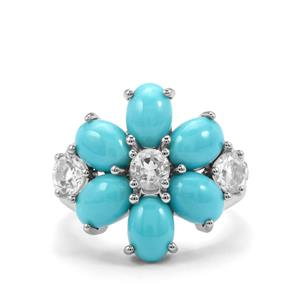 Sleeping Beauty Turquoise Ring with White Topaz in Sterling Silver 5.23cts