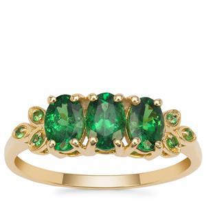 Tsavorite Garnet Ring in 9K Gold 1.45cts