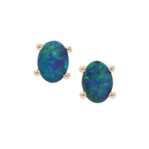 Crystal Opal on Ironstone 9K Gold Earrings