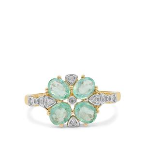 Siberian Emerald & White Zircon 9K Gold Tomas Rae Ring ATGW 1.35cts