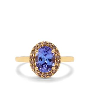 AAA Tanzanite & Champagne Diamond 18K Gold Tomas Rae Ring MTGW 1.91cts