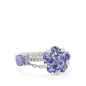 AA Tanzanite & White Zircon Sterling Silver Charleston Ring ATGW 1.33cts