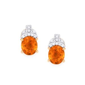 Mandarin Garnet & Diamond 18K Rose Gold Tomas Rae Earrings MTGW 2.66cts