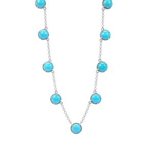 Sleeping Beauty Turquoise Station Necklace in Sterling Silver 10.77cts