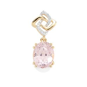 Mawi Kunzite Pendant with Diamond in 9K Gold 3.97cts