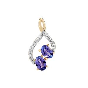 AA Tanzanite Pendant with White Zircon in 9K Gold 1.14cts