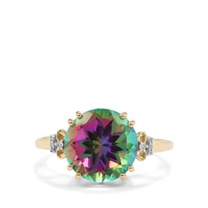 Mystic Topaz Ring with Diamond in 9K Gold 5.80cts