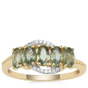 Green Sapphire Ring with Diamond in 9K Gold 1.60cts