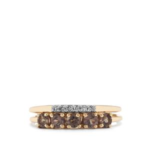 Tsivory Colour Change Garnet Set of 2 Rings with Diamond in 9K Gold 0.80cts