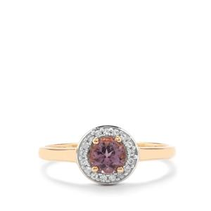 Mahenge Purple Spinel & White Zircon 10K Gold Ring ATGW 0.65cts