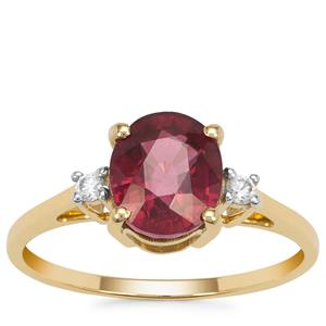 Malawi Garnet Ring with White Zircon in 9K Gold 2.40cts