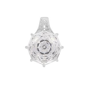Efflorescence Optic Quartz Pendant with White Zircon in Sterling Silver 7.70cts