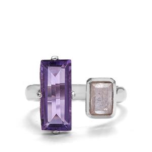 Morganite Ring with Amethyst in Sterling Silver 3.35cts