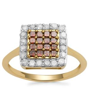 Red Diamond Ring with White Diamond in 9K Gold 0.75ct
