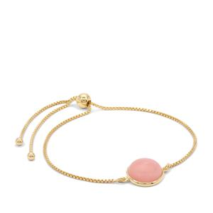 Peruvian Pink Opal Slider Bracelet in Gold Plated Sterling Silver 3.95cts