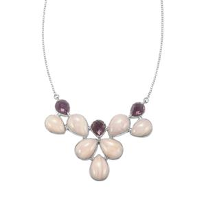 Rose De France Amethyst & Pink Aragonite Sterling Silver Necklace ATGW 77.25cts