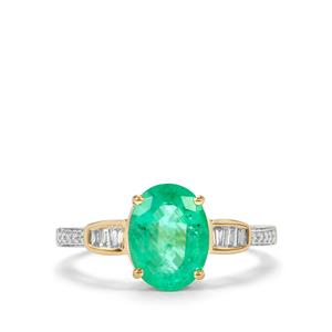 Ethiopian Emerald Ring with Diamond in 18K Gold 1.95cts