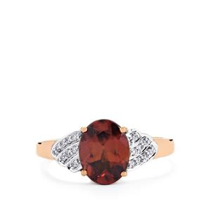 Zanzibar Zircon Ring with Diamond in 14K Rose Gold 3.09cts