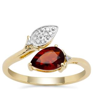 Madeira Citrine Ring with Diamond in 9K Gold 0.71ct