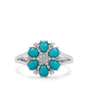 Sleeping Beauty Turquoise & White Topaz Sterling Silver Ring ATGW 0.97cts