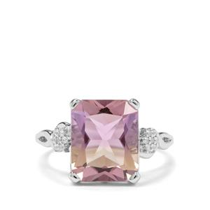 Anahi Ametrine & White Zircon Sterling Silver Ring ATGW 4.94cts