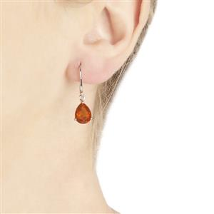 3.32ct AAA Orange American Fire Opal 10K White Gold Earrings