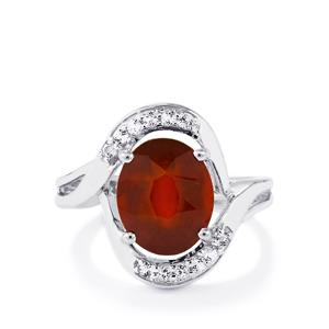 Ciana Hessonite Garnet & White Topaz Sterling Silver Ring ATGW 4.56cts