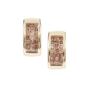 Champagne Diamond Earrings in 9K Gold 1ct