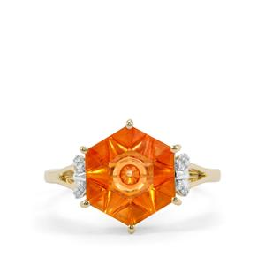 Lehrer QuasarCut Padparadscha Quartz Ring with Diamond in 9K Gold 2.84cts