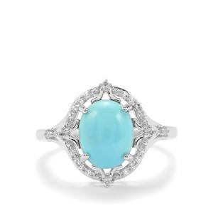 Sleeping Beauty Turquoise Ring with White Topaz in Sterling Silver 2.28cts